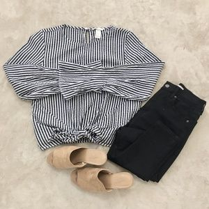 H&M Striped Tie Front Top